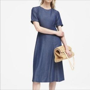 Banana Republic Blue Bow Back Dress Chambray